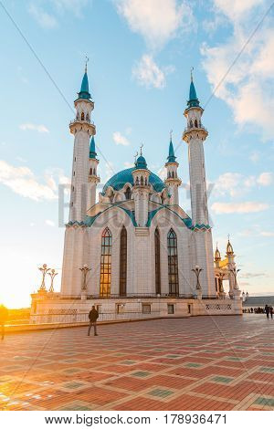 Kazan, Russia - March 26.2017. View of the mosque Kul-Sharif at sunset. Tatarstan