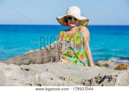 Women and iguana on the caribbean beach