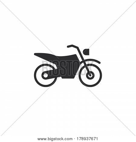 Dirt bike icon vector motorcycle filled flat sign solid pictogram isolated on white logo illustration
