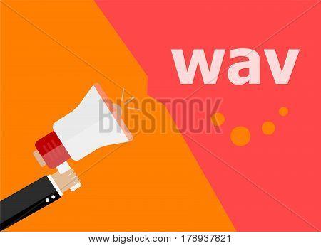 Wav. Hand Holding A Megaphone. Flat Style