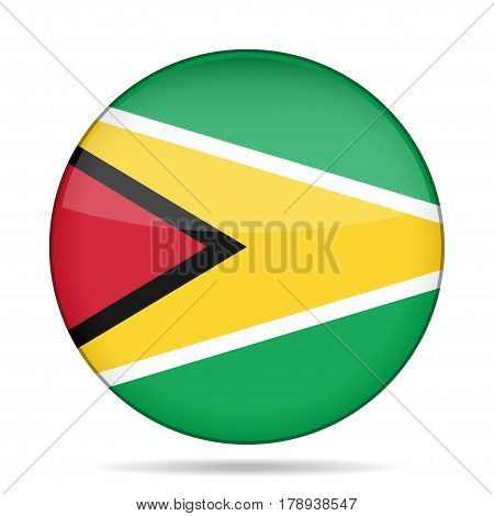 National flag of Guyana. Shiny round button with shadow.