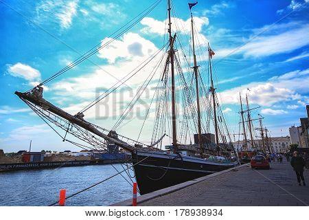 COPENHAGEN DENMARK - JUNE 15: Image of yacht moored in the harbour in Copenhagen Denmark in 2012
