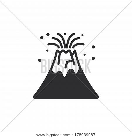 Volcano eruption icon vector filled flat sign solid pictogram isolated on white logo illustration