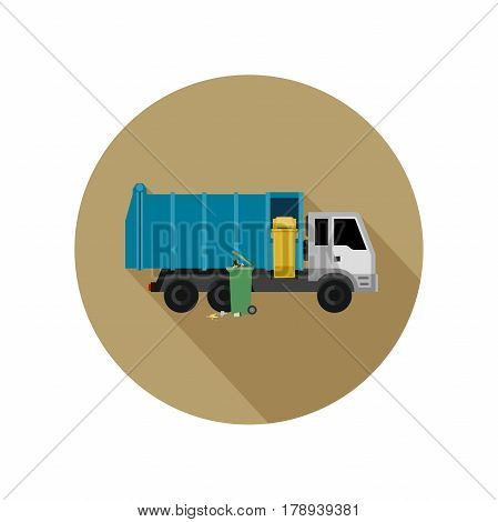 Garbage truck and dumpsters illustration in flat syle. Icon of garbage removal.
