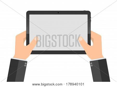 Hands holding digital tablet with blank screen. Vector illustration. Modern tablet PC with touch screen in the hands isolated.