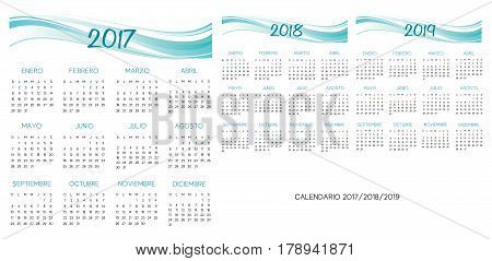 Spanish Calendar 2017-2018-2019 vector turquoise and blue text is outline