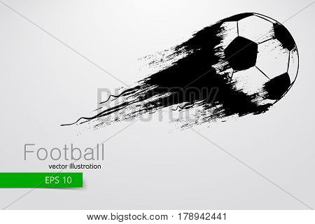 silhouette of a football ball. Text and background on a separate layer, color can be changed in one click. Vector illustration