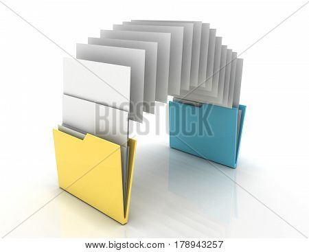 Copy folders concept . 3d illustration . rendered illustration