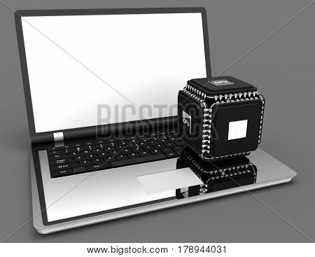 laptop with multicore powerful chip concept. 3d . rendered illustration