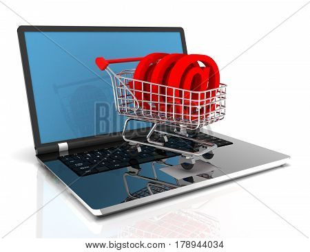 online shopping 3d concept with cart and laptop .3D . rendered illustration