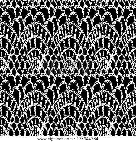 Crochet pattern. Knitting texture. Granny handmade lace. Macrame. Boho style seamless background. Vector illustration for fashion or interior fabric design.
