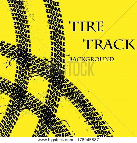 Yellow background with grunge tire tracks and sample text