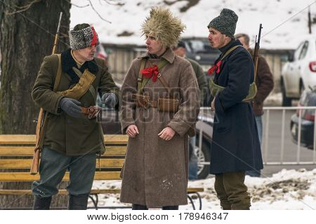 Lviv Ukraine - January 29 2017: Military historical reconstruction battle of Kruty . Participants of the event get ready to the reconstruction in Lviv Ukraine.
