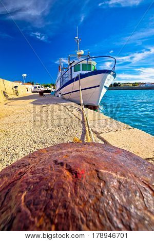 Boat On Mooring Bollard In Ugljan Island Village