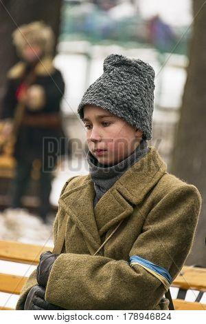 Lviv Ukraine - January 29 2017: Military historical reconstruction battle of Kruty . Portrait participant of Reconstruction Lviv Ukraine.