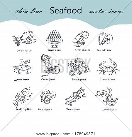 Seafood thin line vector icons set. Symbols of various delicacies - oyster, cancer, molluscs, mussels, eel, caviar, anchovies, octopus and dorado.