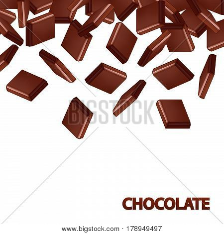 Fallen black chocolate bars isolated on white background. Chocolate pieces vector illustration.