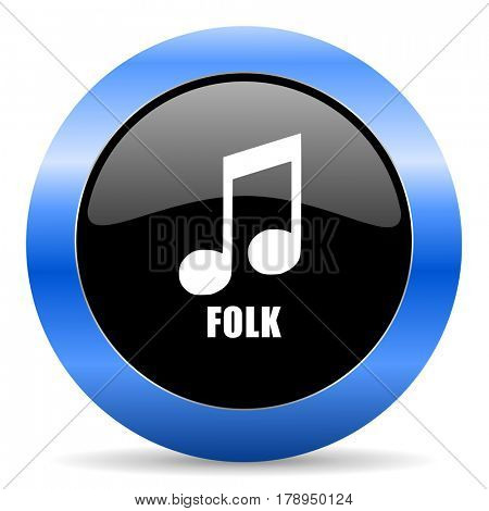 Folk music black and blue web design round internet icon with shadow on white background.