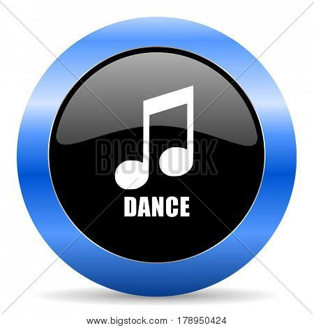 Dance music black and blue web design round internet icon with shadow on white background.