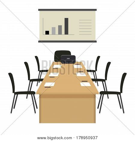 Conference hall. The office room is prepared for the meeting. There is a screen, a large desk and chairs in the picture. On the table is a laptop, paper for notes and pencils. Vector illustration.