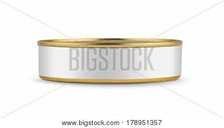 White blank tincan gold metal Tin Can, canned Food. Isolated on white background. Ready for your design. Real product packing. Mockup.