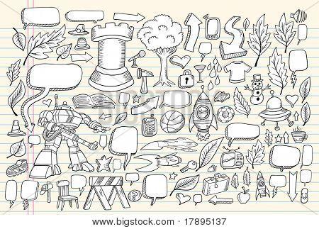 Notebook Doodle Speech Bubble Design Elements Mega Vector Illustration Set