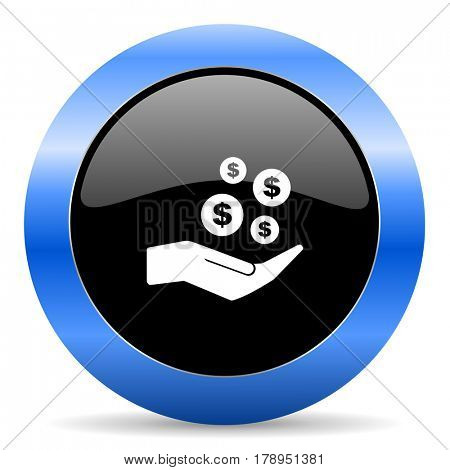 Save money black and blue web design round internet icon with shadow on white background.