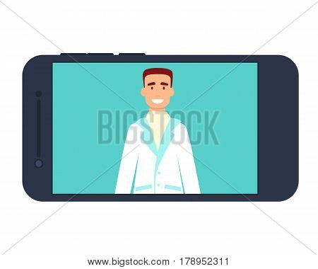 Medical consultation of a doctor on the Internet on a mobile phone. Vector illustration