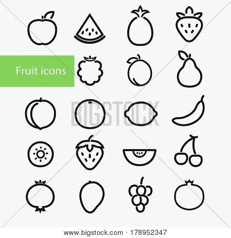Vector illustration. Set Of Outline Stroke Fruit icons: pineapple apple watermelon strawberry blackberry plum pear peach orange lemon banana kiwi melon cherry mango grapes pomegranate blueberry and cherries
