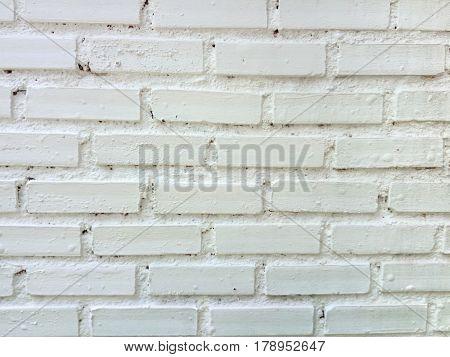 Closeup to Old Horizontal White Brick Wall Background