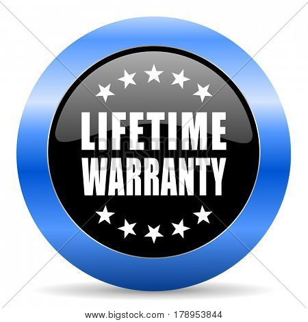 Lifetime warranty black and blue web design round internet icon with shadow on white background.