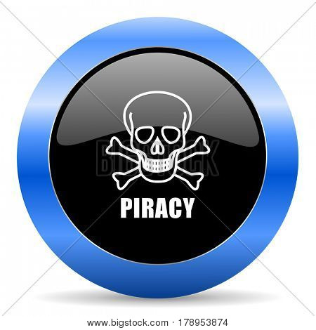 Piracy skull black and blue web design round internet icon with shadow on white background.
