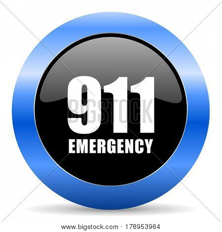 Number emergency 911 black and blue web design round internet icon with shadow on white background.