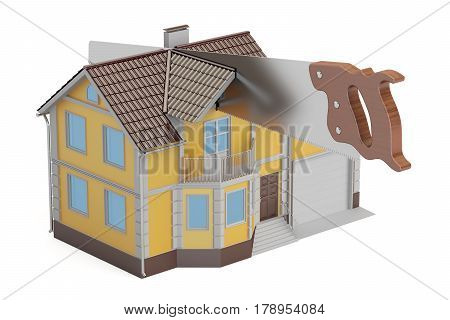 Property division concept 3D rendering isolated on white background