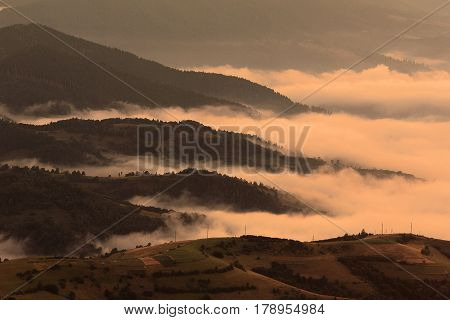 colorful foggy autumn Carpathians landscape, location west ukraine,   Ukrainian Carpathian mountains, east Europe, wonderful world