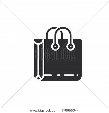 Shopping bag icon vector filled flat sign solid pictogram isolated on white logo illustration