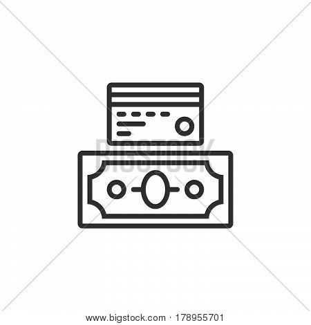 Credit card and cash money payment options line icon outline vector sign linear pictogram isolated on white. logo illustration