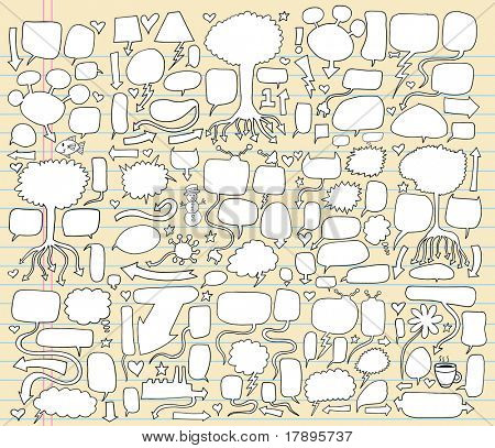 MEGA Giant Notebook Doodle Speech Bubble Vector Illustration Set