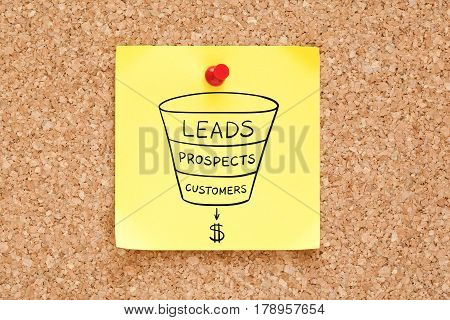 Sales funnel business concept drawn on yellow sticky note pinned on cork bulletin board.