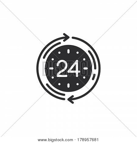 24 hours service icon vector filled flat sign solid pictogram isolated on white logo illustration