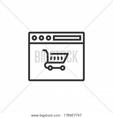 Online shopping symbol shopping cart in browser line icon outline vector sign linear pictogram isolated on white. logo illustration
