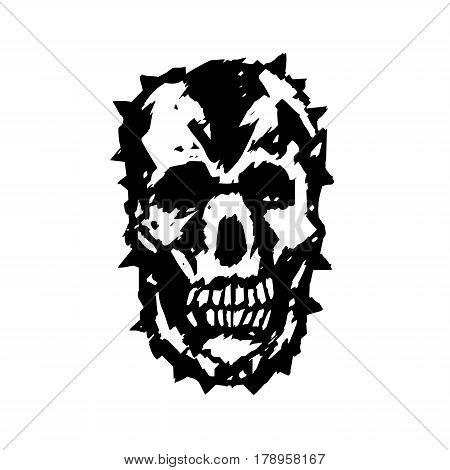 Apocalypse demon skull. Horror character. Creepymask. Vector illustration