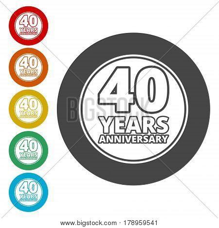 Anniversary icon set. Anniversary symbols isolated on white background. 40 years