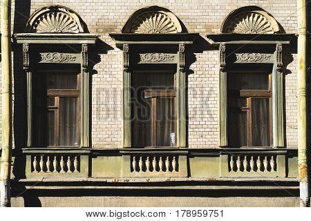 Windows classic on the facade in saint-petersburg.