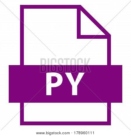 Use it in all your designs. Filename extension icon PY Python Script file in flat style. Quick and easy recolorable shape. Vector illustration a graphic element.