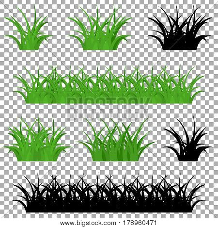 Green and black  grass borders set, vector illustration