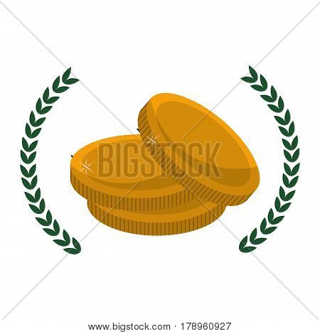 metal gold coins money with branches decoration, vector illustration design