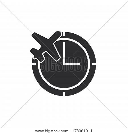 Clock and plane icon vector filled flat sign solid pictogram isolated on white. Flight status symbol logo illustration