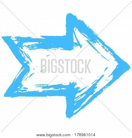 Blue arrow sign painted by paint brushstroke. Ink sketch drawing created in handmade technique. Quick and easy recolorable shape. Vector illustration a graphic element