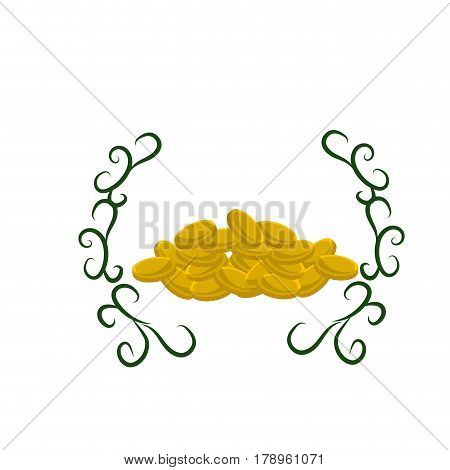 many metal gold coins with branches, vector illustration design